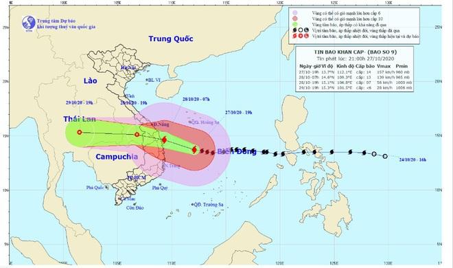 Bão số 9 đang tiến sát đất liền, hướng vào Đà Nẵng đến Phú Yên với sức gió giật cấp 15 - ảnh 1