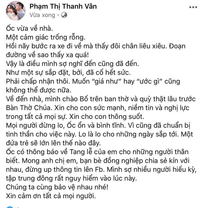 Ốc Thanh Vân chính thức lên tiếng sau khi Mai Phương qua đời: Đứng không vững lúc hay tin, hé lộ thông tin hiếm về tang lễ - ảnh 1
