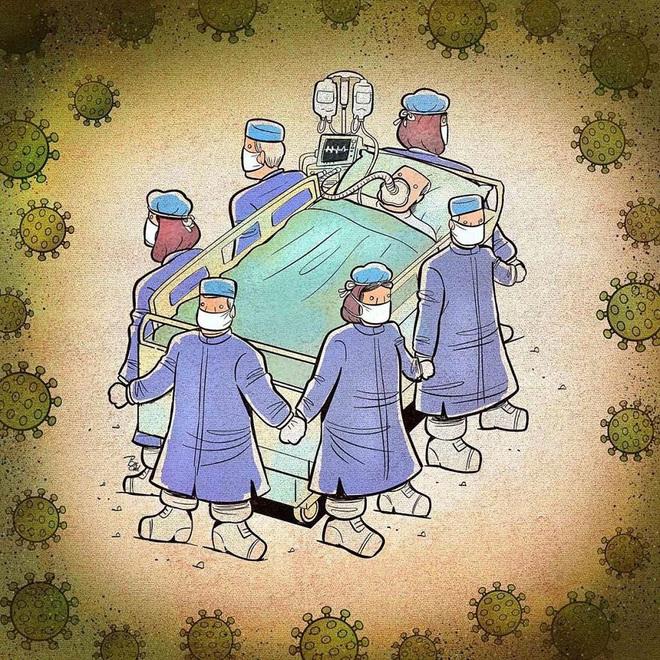 Bộ tranh về những người ở tuyến đầu chống dịch Covid-19: Dù virus là kẻ thù vô hình nhưng cuộc chiến vẫn quá tàn nhẫn và có nhiều sự hy sinh! - Ảnh 7.