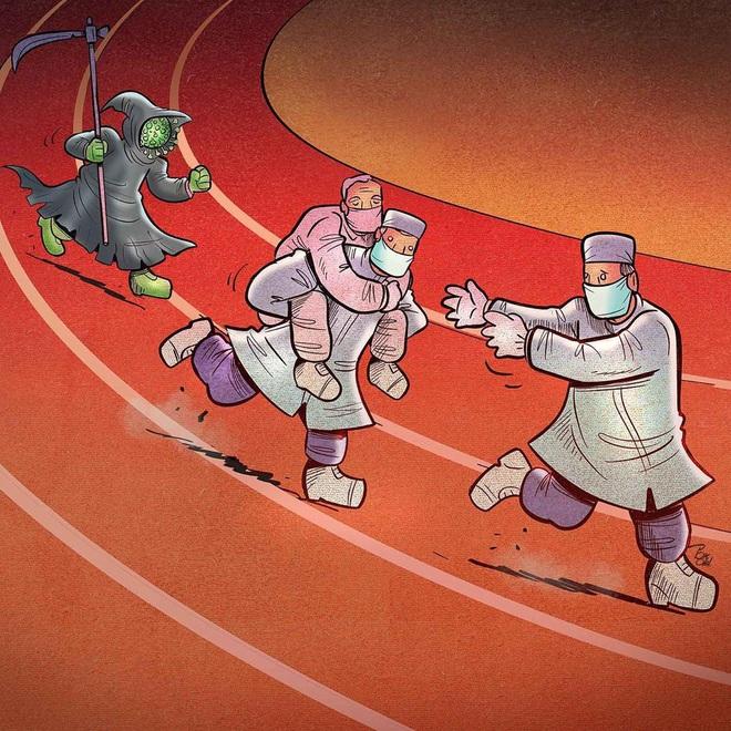 Bộ tranh về những người ở tuyến đầu chống dịch Covid-19: Dù virus là kẻ thù vô hình nhưng cuộc chiến vẫn quá tàn nhẫn và có nhiều sự hy sinh! - ảnh 18