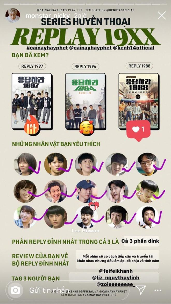 Series Reply 19XX khiến sao Việt phát cuồng: Diệu Nhi một lòng với Park Bo Gum, Nicky cày sạch cả 3 phần, Jun Phạm thốt lên đúng 3 từ! - ảnh 4