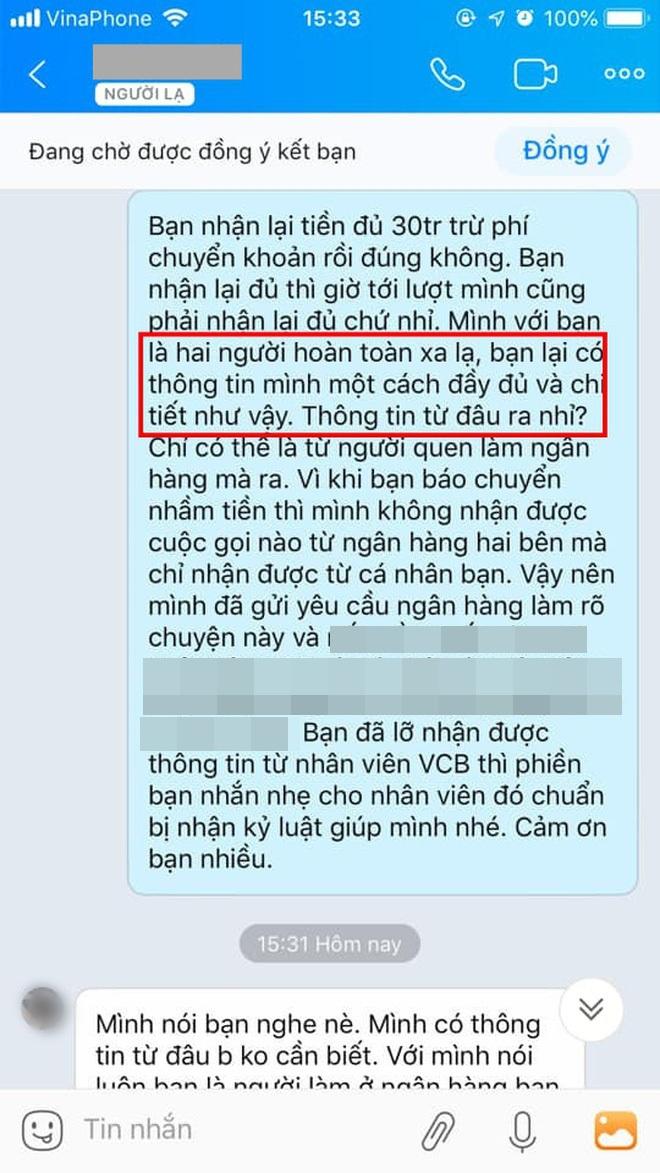 """Chuyển nhầm 30 triệu qua tài khoản Vietcombank của người lạ rồi truy SĐT để nhắn tin như """"đòi nợ"""": Dân mạng bất bình, ngân hàng lên tiếng - Ảnh 2."""