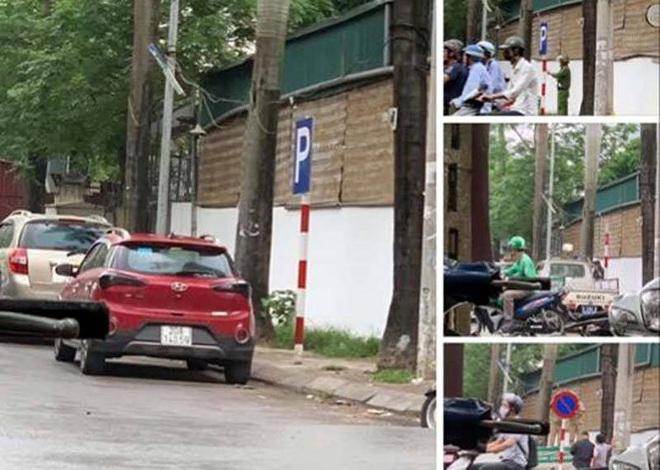 Hà Nội: Hy hữu kẻ giấu mặt nhổ biển cấm đỗ ô tô trên đường, tráo biển cho đỗ - ảnh 1