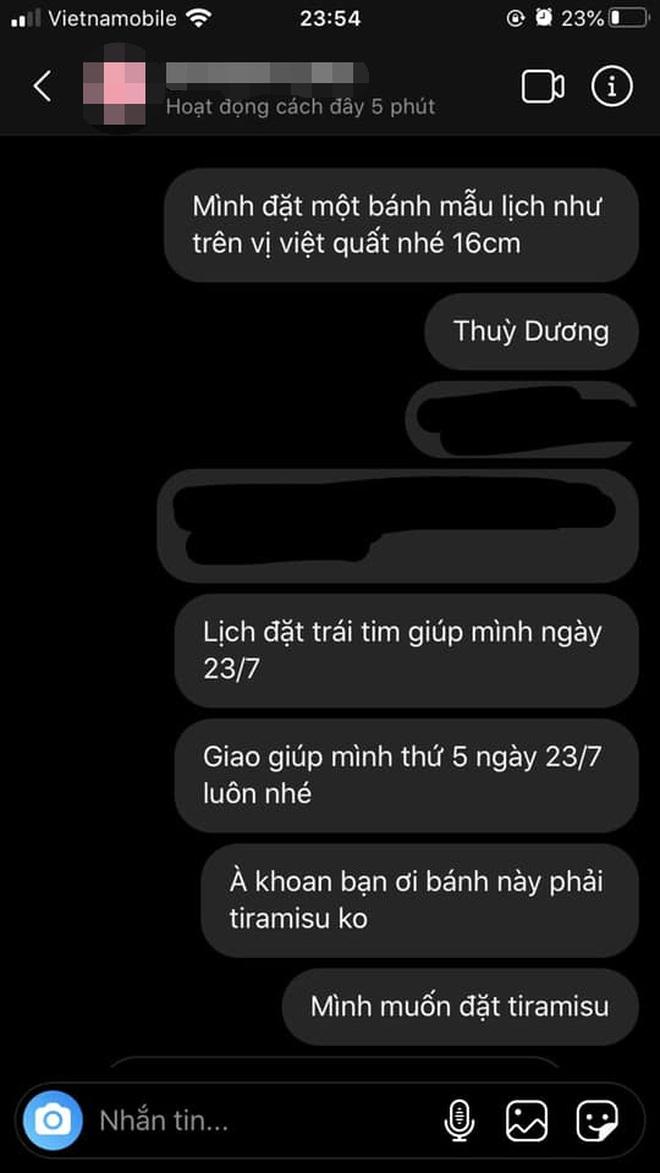 Tin nhắn đặt hàng của Thuỳ Dương.