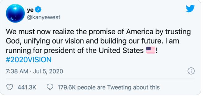 NÓNG: Kanye West khiến cả thế giới chấn động khi chính thức tuyên bố tranh cử Tổng thống Mỹ - ảnh 2