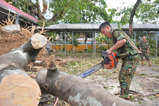 Quân đội Huế khẩn trương dọn dẹp, khắc phục sự cố sau bão số 5 để học sinh sớm trở lại lớp học - ảnh 8