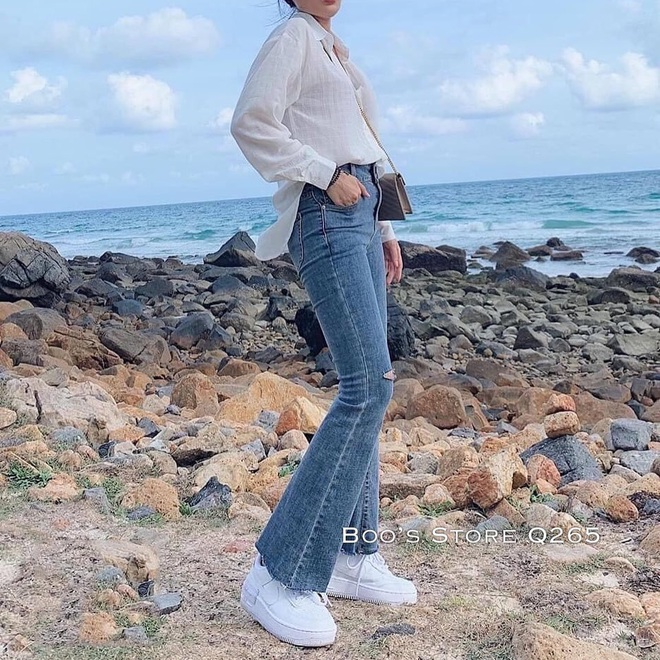 Mùa thu diện quần jeans ống loe chanh sả biết mấy, lại hack chân dài không tậu hơi phí - ảnh 17