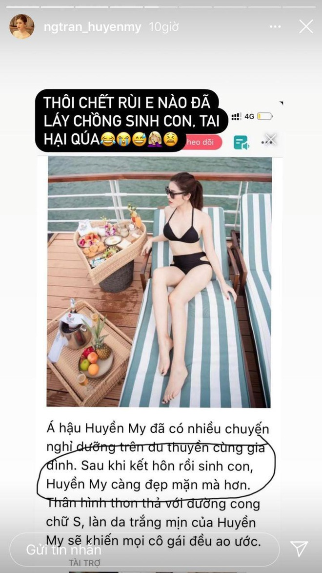 Huyền My tá hoả khi thấy tin đồn lấy chồng sinh con, công khai lên tiếng trên Instagram - ảnh 1