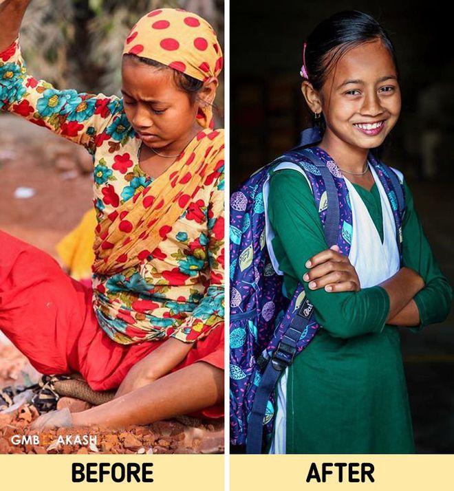 Chùm ảnh trẻ em nghèo trước và sau khi được giúp đỡ để có cơ hội đến trường đi học như bạn bè đồng trang lứa gây xúc động mạnh - ảnh 14