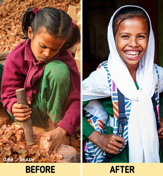 Chùm ảnh trẻ em nghèo trước và sau khi được giúp đỡ để có cơ hội đến trường đi học như bạn bè đồng trang lứa gây xúc động mạnh - ảnh 5