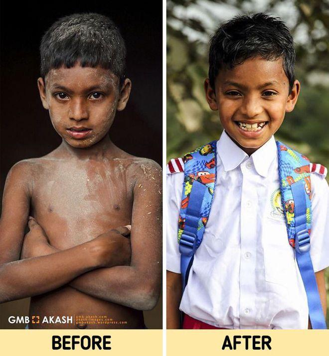 Chùm ảnh trẻ em nghèo trước và sau khi được giúp đỡ để có cơ hội đến trường đi học như bạn bè đồng trang lứa gây xúc động mạnh - ảnh 6