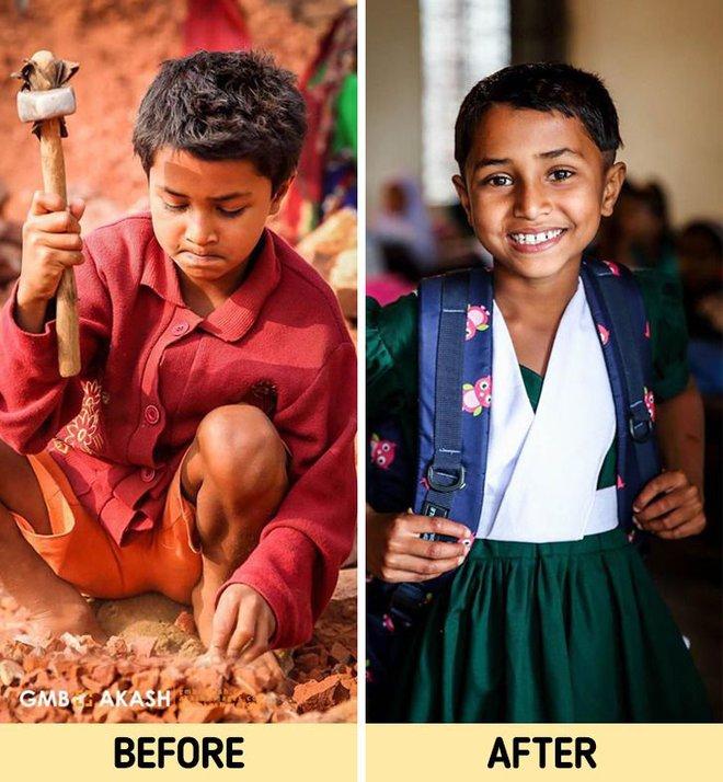 Chùm ảnh trẻ em nghèo trước và sau khi được giúp đỡ để có cơ hội đến trường đi học như bạn bè đồng trang lứa gây xúc động mạnh - ảnh 7