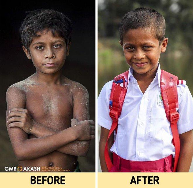 Chùm ảnh trẻ em nghèo trước và sau khi được giúp đỡ để có cơ hội đến trường đi học như bạn bè đồng trang lứa gây xúc động mạnh - ảnh 8