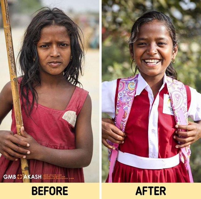 Chùm ảnh trẻ em nghèo trước và sau khi được giúp đỡ để có cơ hội đến trường đi học như bạn bè đồng trang lứa gây xúc động mạnh - ảnh 9