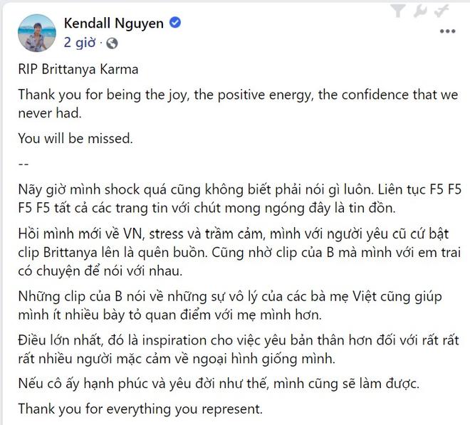 Karik, Lương Thùy Linh và dàn sao Việt tiếc thương trước sự ra đi của vlogger gốc Việt Brittanya Karma sau khi nhiễm Covid-19 - ảnh 6