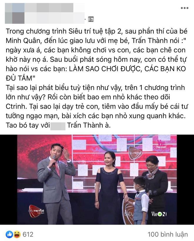 Trấn Thành vấp tranh cãi vì phát ngôn dạy hư trẻ trên Siêu Trí Tuệ Việt Nam - ảnh 2