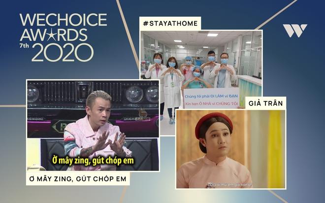 WeChoice Awards 2020: Câu cửa miệng của Binz và trào lưu ở nhà đang dẫn đầu 2 đường đua của lãnh địa MXH - ảnh 1