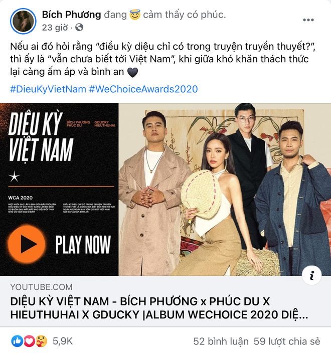 Vbiz rần rần vì WeChoice Awards 2020: Sao Việt đăng đầy newsfeed, fanpage NS Chí Tài chia sẻ đầy xúc động, Binz - Hoà Minzy gấp rút kêu gọi - ảnh 6