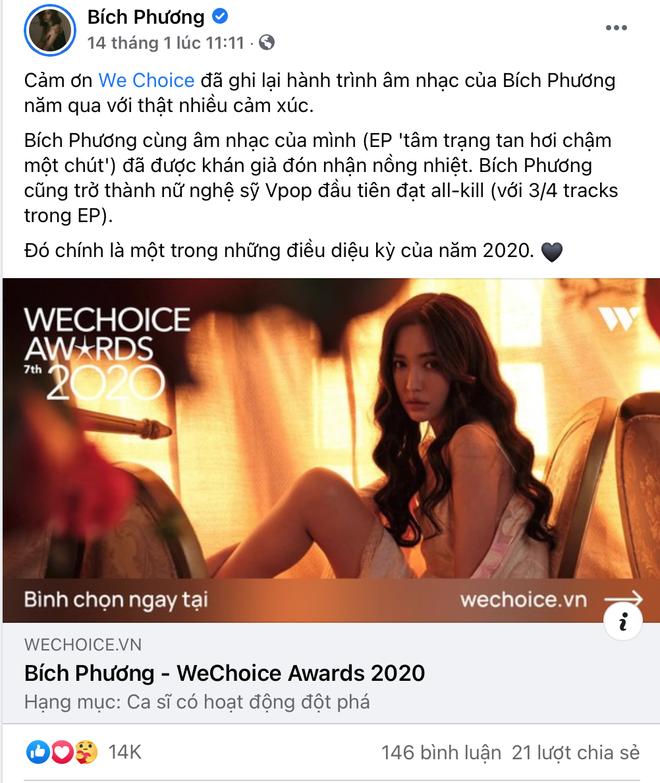 Vbiz rần rần vì WeChoice Awards 2020: Sao Việt đăng đầy newsfeed, fanpage NS Chí Tài chia sẻ đầy xúc động, Binz - Hoà Minzy gấp rút kêu gọi - ảnh 7