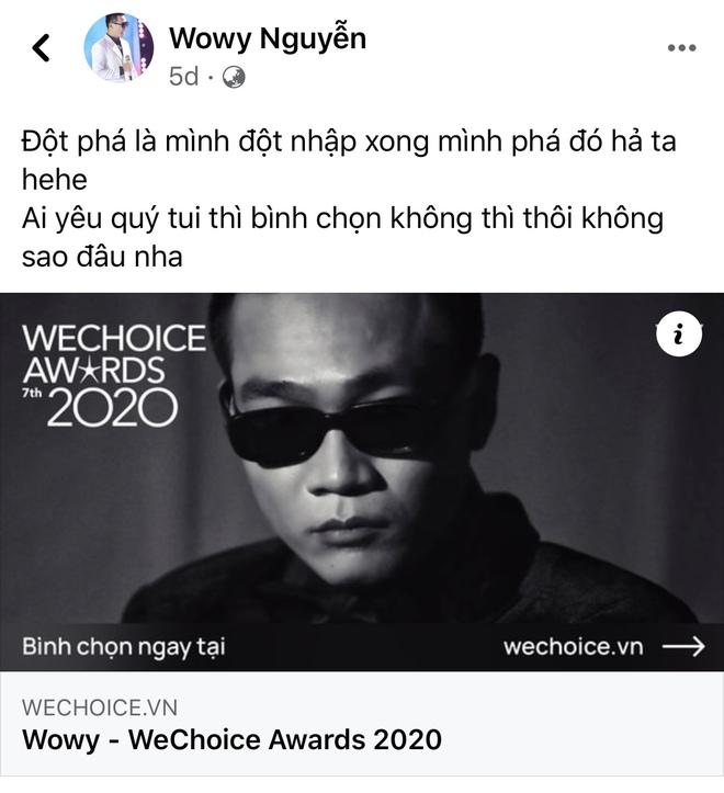 Vbiz rần rần vì WeChoice Awards 2020: Sao Việt đăng đầy newsfeed, fanpage NS Chí Tài chia sẻ đầy xúc động, Binz - Hoà Minzy gấp rút kêu gọi - ảnh 5