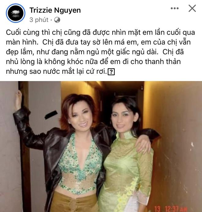 Trizzie Phương Trinh nhìn Phi Nhung lần cuối qua màn hình trước lúc hoả thiêu: Tay sờ lên má em, em của chị vẫn đẹp lắm! - Ảnh 2.