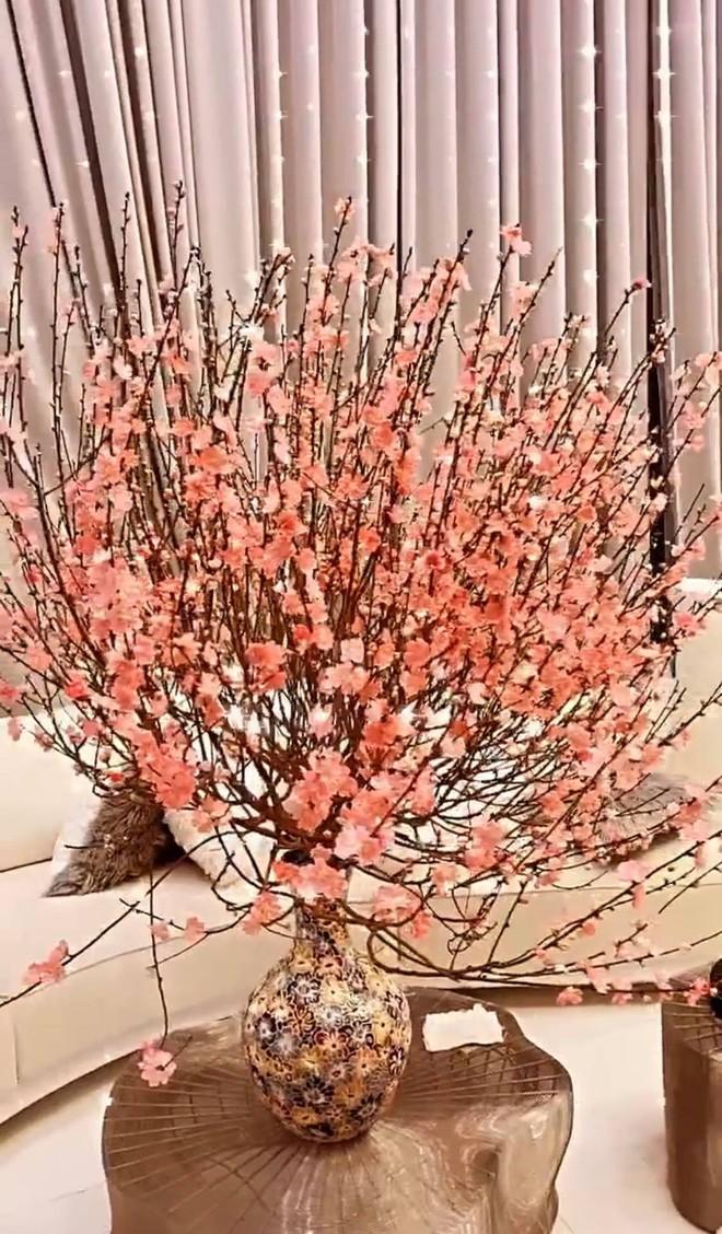 Biệt thự 40 tỷ của Ngọc Trinh rực rỡ như vườn hoa Tết, nhưng dân tình lại khuyên bỏ cành đào vì lý do này - Ảnh 2.