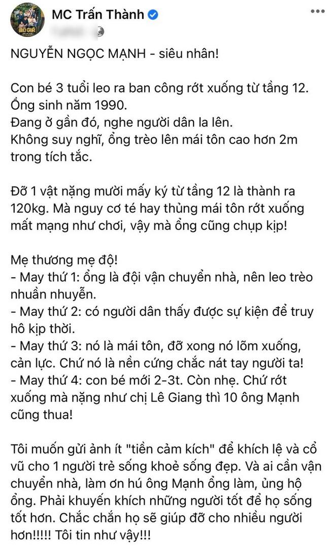 """Trấn Thành chuyển nóng 10 triệu đồng cảm ơn Nguyễn Ngọc Mạnh, nhắn gửi: """"Anh tuyệt vời lắm!"""" - Ảnh 5."""