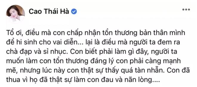 Sau 7749 cảnh nóng bị chê dung tục phản cảm, Hoạn Thư Cao Thái Hà suy sụp đến mức đăng status cầu cứu Tổ Nghiệp? - ảnh 2