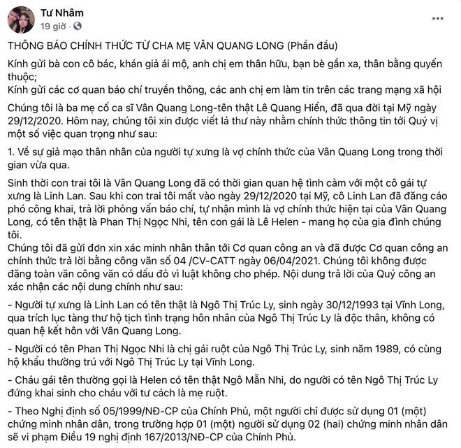 Bố mẹ Vân Quang Long liên hệ công an xác minh nhân thân Linh Lan là giả mạo, khẳng định cố NS có vợ chính thức tại Mỹ - ảnh 1