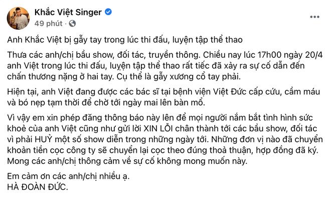 Khắc Việt nhập viện cấp cứu vì gãy tay, tạm thời cầm máu và bó nẹp chờ lên bàn mổ - ảnh 3