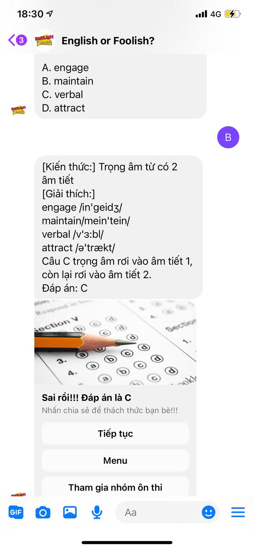 Cách ôn thi tiếng Anh khá hay ho ngay trên Facebook Messenger đang được sĩ tử chia sẻ rần rần trước kỳ thi Đại học - ảnh 3