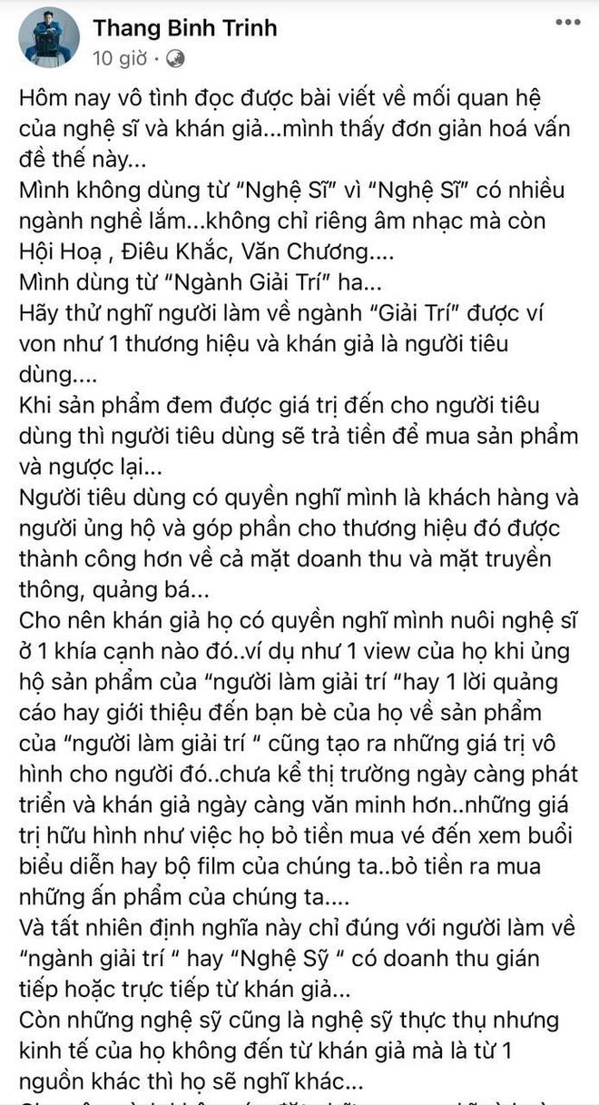 Trịnh Thăng Bình nói gì về quan điểm Công chúng nuôi nghệ sĩ mà được khen ngợi rầm rộ giữa biến căng thế này? - ảnh 1