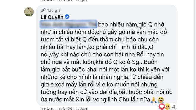 Bị đặt điều vô ơn với cố nhạc sĩ Thanh Bình, Lệ Quyên đanh thép đáp trả khiến netizen xấu hổ phải xoá bình luận - Ảnh 4.