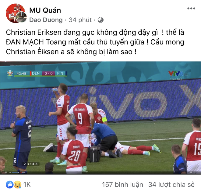 Dân mạng Việt đi từ bàng hoàng đến vỡ oà khi chứng kiến cầu thủ số 1 Đan Mạch đột quỵ ngay trên sân đấu Euro - ảnh 9