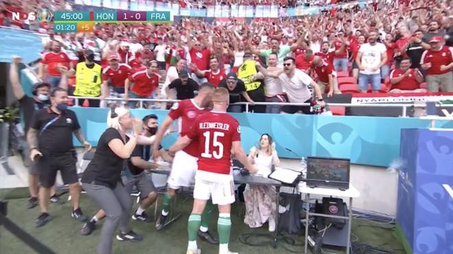 Bất ngờ phá lưới ĐT Pháp, cầu thủ Hungary ăn mừng quá sung khiến nữ phóng viên hết hồn - ảnh 4
