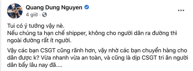 """Đạo diễn Quang Dũng bị chỉ trích dữ dội vì đề xuất CSGT làm shipper mùa dịch, loạt sao Việt hưởng ứng cũng nhận """"gạch đá"""" - ảnh 1"""