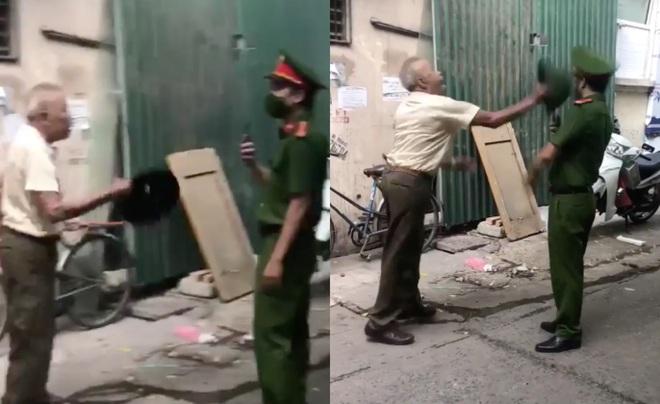 Clip: Người đàn ông lớn tuổi vác mũ cối đánh cán bộ công an chảy máu khi bị nhắc nhở đeo khẩu trang - ảnh 1