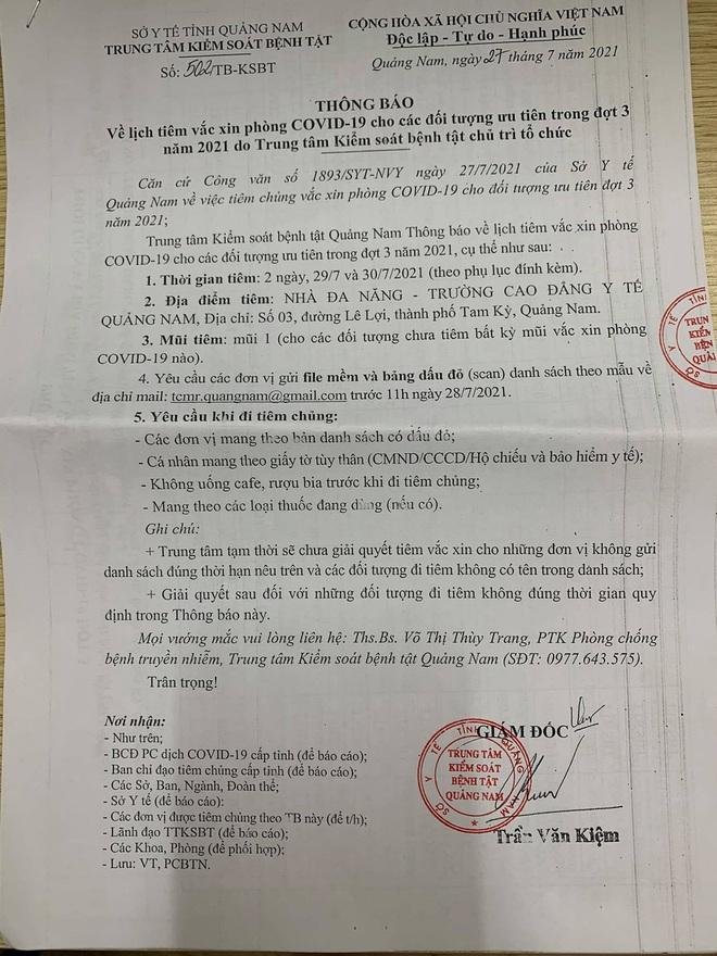 Làm rõ việc 3 doanh nghiệp bất động sản được ưu ái tiêm vắc xin Covid-19 ở Quảng Nam - ảnh 1