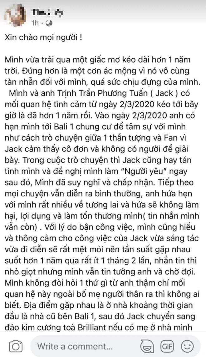 BIẾN CĂNG: 1 cô gái tố Jack bắt cá 3 tay, có con với nữ chính MV Sóng Gió, tung cả ảnh nghi nam ca sĩ trên giường và loạt tin nhắn? - Ảnh 2.