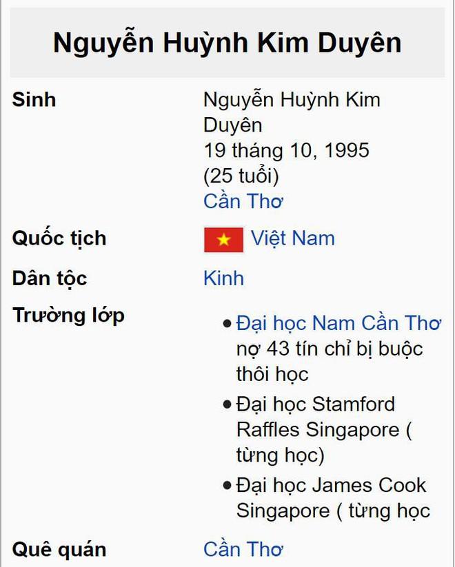 Vướng lùm xùm học vấn, Á hậu Kim Duyên lập tức bị thay đổi thông tin trên Wikipedia, nội dung lại cực kỳ trớ trêu! - ảnh 3
