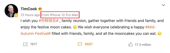Tim Cook đăng bài chúc mừng Trung thu, nhưng lại vô tình lộ dòng iPhone đang sử dụng khiến netizen được dịp cà khịa - ảnh 2