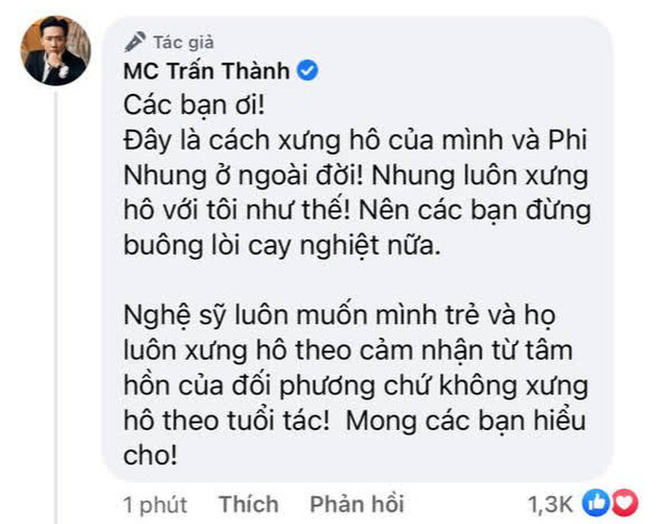 Đại diện cố ca sĩ Phi Nhung lên tiếng khi Trấn Thành bị chỉ trích vì xưng bạn dù kém đàn chị 17 tuổi
