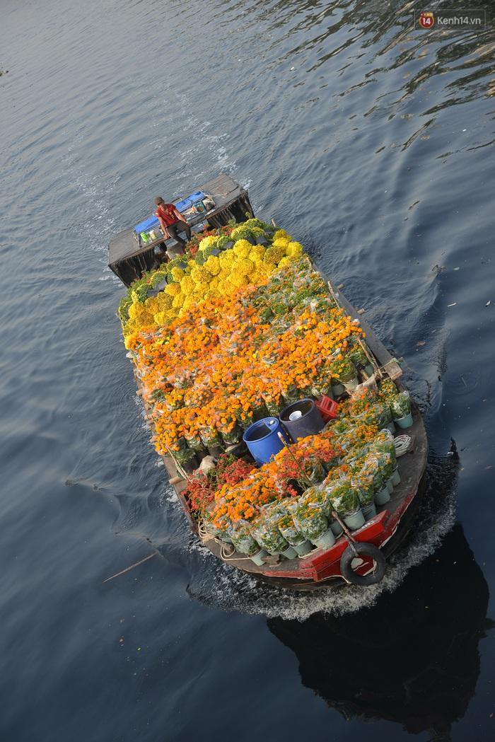 Ảnh: Thuyền chở đầy ắp hoa nối đuôi nhau cập bến Bình Đông, chợ hoa trên bến dưới thuyền rộn ràng sắc xuân ngày cận Tết - Ảnh 2.