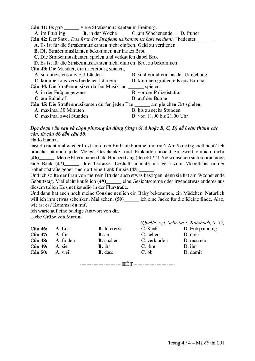Đề thi minh hoạ THPT Quốc gia 2019: Tiếng Đức - Ảnh 4.