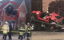Chiếc Porsche mất lái đâm thẳng lên tầng 2 của một ngôi nhà, khiến 2 người trẻ tuổi trong xe tử vong