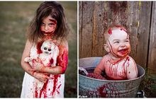 """Bà mẹ """"chơi lớn"""" chụp bộ ảnh Halloween cho hai con nhỏ, trông vừa sợ vừa dị nhưng được dân mạng chia sẻ rần rần"""