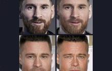 """Cười đau bụng với chùm ảnh siêu sao bóng đá biến thành tài tử điện ảnh thông qua app """"Bạn giống ai"""": Messi hóa Brad Pitt, Ronaldo như Tom Cruise"""
