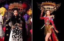 """Cùng """"công kênh"""" cả Chùa Cầu (Hội An) trên vai, trang phục dân tộc của Kiều Loan và H'Hen Niê - ai đẹp hơn?"""