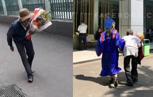 Hình ảnh người ông lưng còng lặng lẽ ôm hoa đến tặng cháu gái trong lễ tốt nghiệpkhiến nhiều người rưng rưng