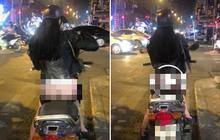 """Cô gái mặc quần mỏng tang như tờ giấy để lộ nội y vòng ba rồi vô tư chạy xe máy trên phố Hà Nội khiến nhiều người """"nhức mắt"""""""